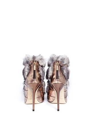 Back View - Click To Enlarge - Jimmy Choo - 'Locke' rabbit fur metallic leather booties