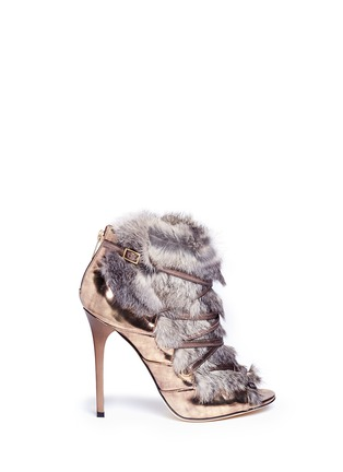 Main View - Click To Enlarge - Jimmy Choo - 'Locke' rabbit fur metallic leather booties