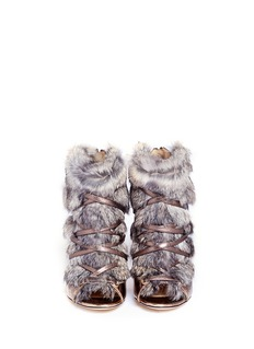 JIMMY CHOO 'Locke' rabbit fur metallic leather booties