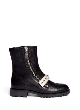 Main View - Click To Enlarge - Alexander McQueen - Studded plate leather biker boots