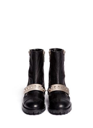 Alexander McQueen-Studded plate leather biker boots