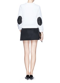 NO. 21 Rose embellished elbow patch quilted sweatshirt