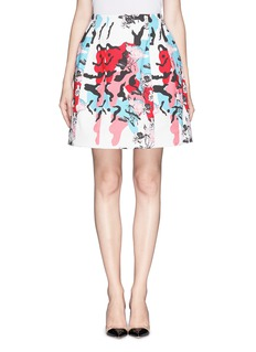 PRABAL GURUNGMolded seam floral print A-line skirt