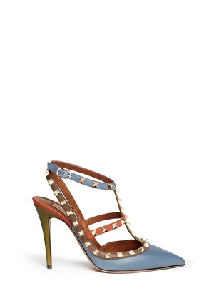 Main View - Click To Enlarge - Valentino - 'Rockstud' Italian Pop caged leather pumps