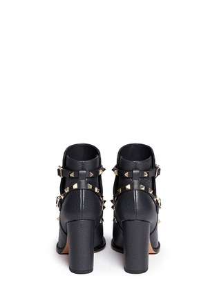 Back View - Click To Enlarge - Valentino - 'Rockstud' harness pebble leather ankle boots