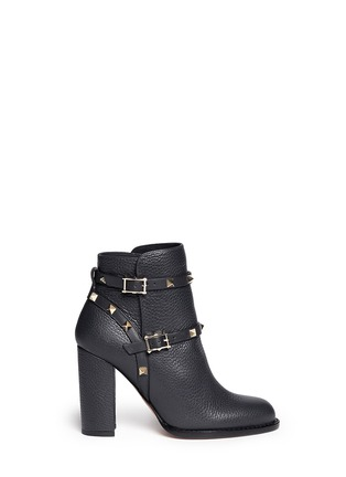 Main View - Click To Enlarge - Valentino - 'Rockstud' harness pebble leather ankle boots