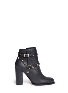 VALENTINO'Rockstud' harness pebble leather ankle boots