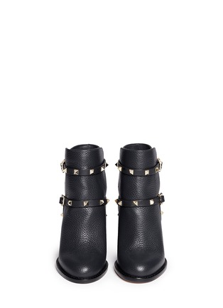 Figure View - Click To Enlarge - Valentino - 'Rockstud' harness pebble leather ankle boots