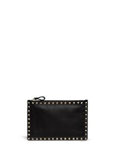 VALENTINO'Rockstud' medium zip leather pouch