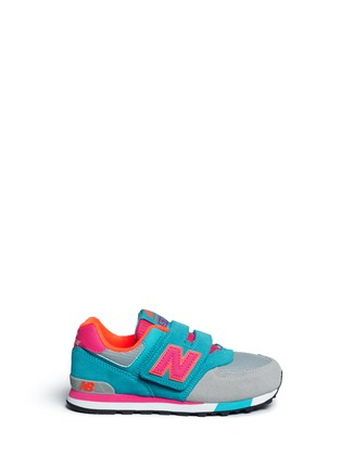 Main View - Click To Enlarge - New Balance - '574 Cut and Paste' colourblock suede kids sneakers