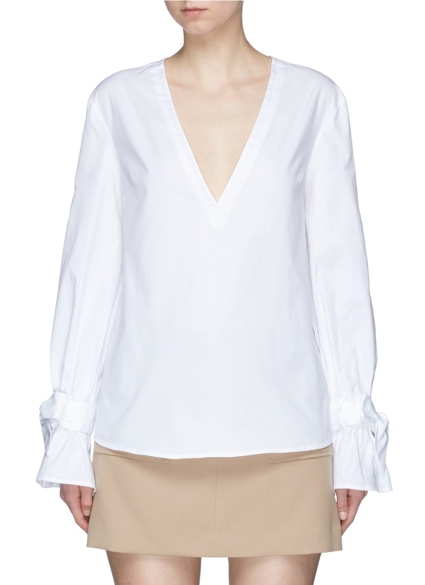 Unstoppable sash cuff cotton V-neck top by C/Meo Collective