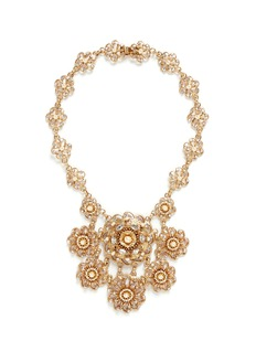 Miriam Haskell Crystal Baroque pearl floral statement necklace