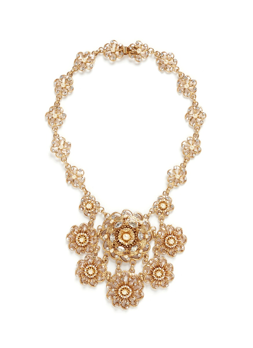 Crystal Baroque pearl floral statement necklace by Miriam Haskell