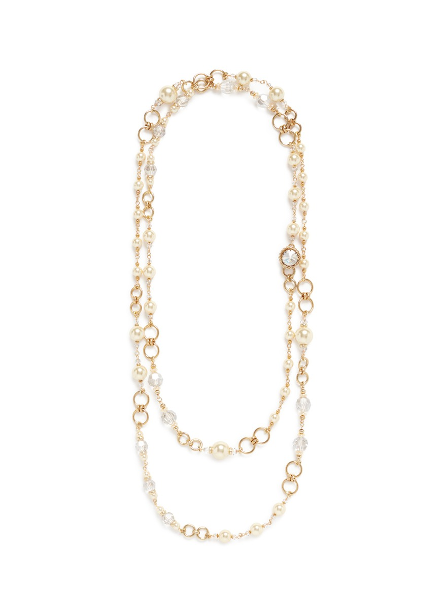 Beaded graduating glass pearl necklace by Miriam Haskell