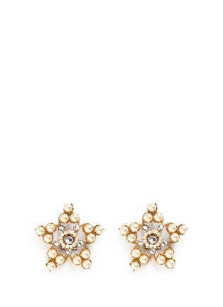Main View - Click To Enlarge - Miriam Haskell - Crystal glass pearl filigree star clip earrings