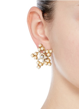 Figure View - Click To Enlarge - Miriam Haskell - Crystal glass pearl filigree star clip earrings