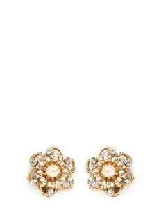 Miriam Haskell Crystal Baroque pearl filigree floral stud earrings