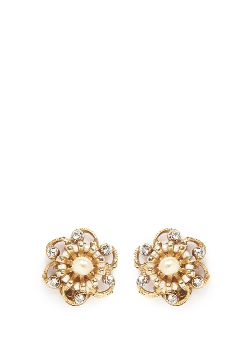 Crystal Baroque pearl filigree floral stud earrings by Miriam Haskell