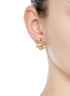 Miriam HaskellCrystal Baroque pearl filigree floral stud earrings