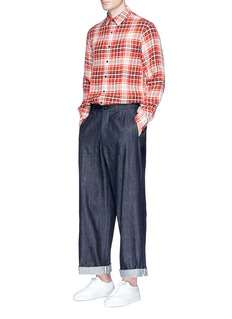 TomorrowlandCheck plaid linen shirt