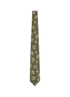 Drake ' SPolo player print linen-cashmere tie