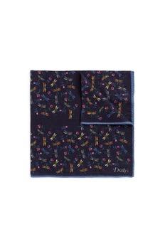 Drake ' SDragonfly floral print pocket square