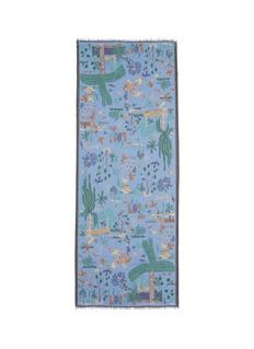 Drake ' SPalm and bird print scarf