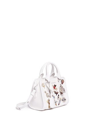Detail View - Click To Enlarge - Alexander McQueen - 'Mini Padlock' embellished charm leather tote