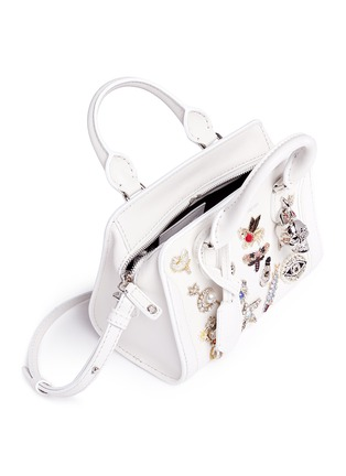 - Alexander McQueen - 'Mini Padlock' embellished charm leather tote