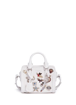 Main View - Click To Enlarge - Alexander McQueen - 'Mini Padlock' embellished charm leather tote