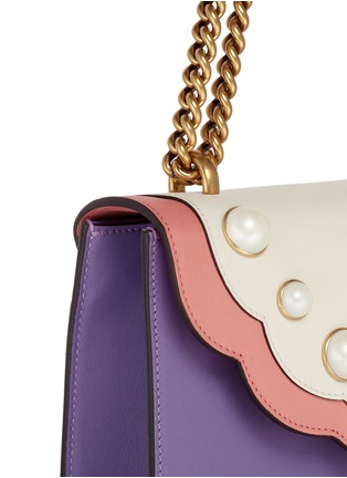 - Gucci - 'Peony' floral faux pearl stud leather chain bag