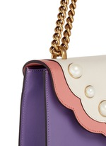 'Peony' floral faux pearl stud leather chain bag