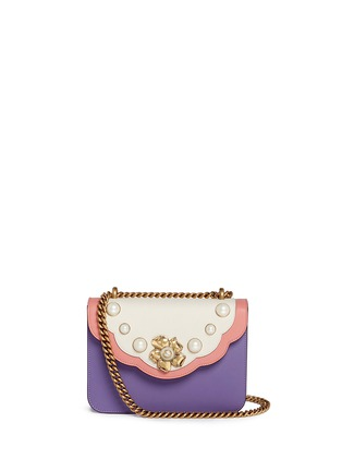 Gucci-'Peony' floral faux pearl stud leather chain bag