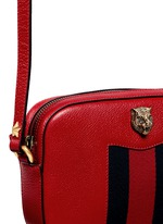 'Animalier' tiger head web leather crossbody bag