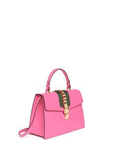 Gucci'Sylvie' chain grosgrain web leather bag