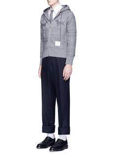 Thom BrowneHector smocking embroidered zip hoodie