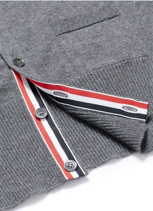 Detail View - Click To Enlarge - Thom Browne - Intarsia stripe cashmere V-neck cardigan