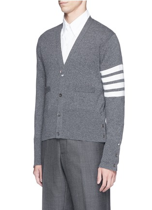 Front View - Click To Enlarge - Thom Browne - Intarsia stripe cashmere V-neck cardigan
