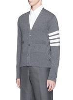 Intarsia stripe cashmere V-neck cardigan