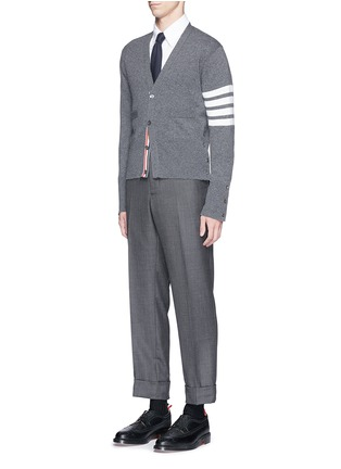 Figure View - Click To Enlarge - Thom Browne - Intarsia stripe cashmere V-neck cardigan