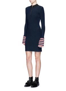 Emilio PucciZip front pleated cuff stripe knit dress