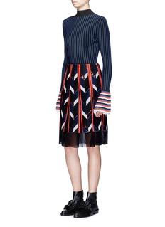 Emilio PucciGeometric sequin patchwork pleat silk skirt