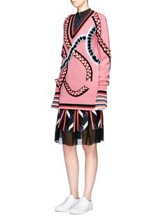 Emilio PucciFolded ribbon trim oversized Merino wool sweater