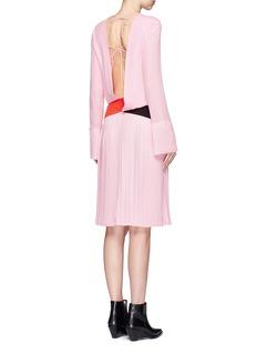 Emilio PucciStripe open back pleated silk blend dress