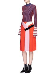 Emilio PucciColourblock silk blend pleated skirt