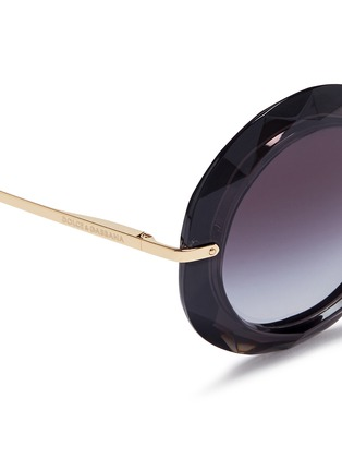 Detail View - Click To Enlarge - Dolce & Gabbana - Metal temple faceted acetate round sunglasses