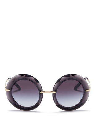 Dolce & Gabbana - Metal temple faceted acetate round sunglasses