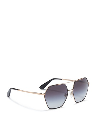 Figure View - Click To Enlarge - Dolce & Gabbana - Metal rim hexagonal sunglasses