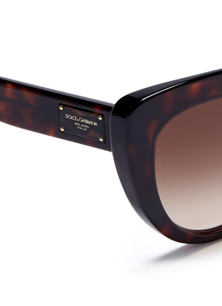 Detail View - Click To Enlarge - Dolce & Gabbana - Logo temple acetate cat eye sunglasses