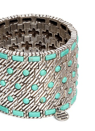 Detail View - Click To Enlarge - Philippe Audibert - 'Aomi' engraved stripe stone elastic bracelet